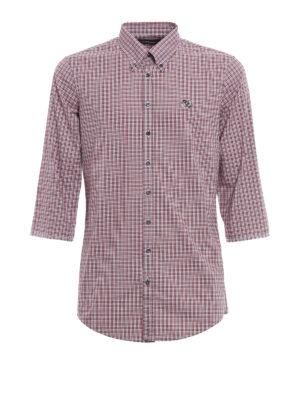 Dsquared2: shirts - Three quarter sleeve checked shirt