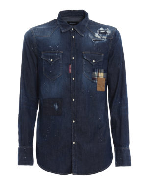 DSQUARED2: camicie - Camicia in denim effetto used con patch