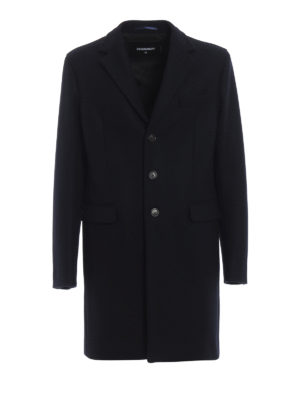 DSQUARED2: cappotti corti - Cappotto monopetto in lana tecnica blu