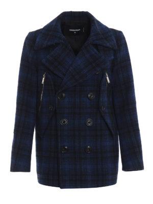 DSQUARED2: cappotti corti - Caban mono petto in lana a quadri