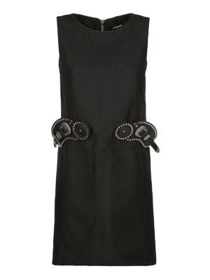DSQUARED2: abiti corti - Tubino in lana con dettaglio cintura