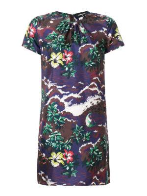 DSQUARED2: abiti corti - Mini abito in seta stampa hawaiana