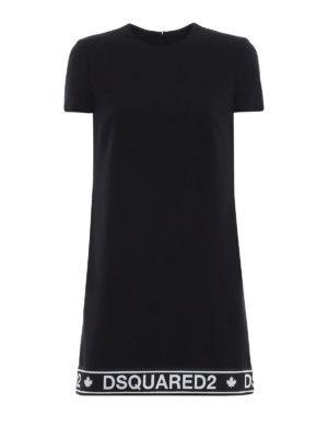 DSQUARED2: abiti corti - Abito dritto in misto lana con banda logo