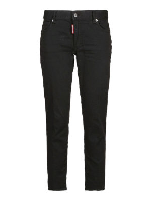 DSQUARED2: jeans skinny - Jeans skinny e crop in denim nero