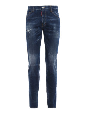 DSQUARED2: jeans skinny - Jeans Cool Guy lavaggio medio con patch DD