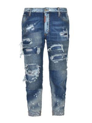 Dsquared2: skinny jeans - Glam Head distressed crop jeans