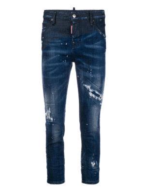 DSQUARED2: jeans skinny - Jeans crop a vita alta in denim strappato