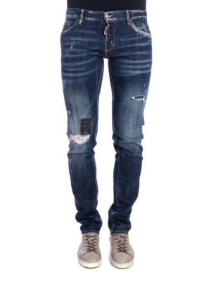 Dsquared2: skinny jeans online - Distressed stone washed denim jeans