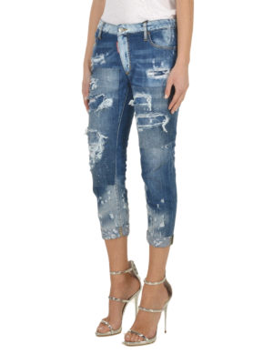 Dsquared2: skinny jeans online - Glam Head distressed crop jeans