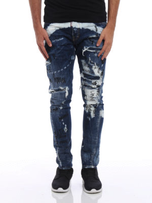 Dsquared2: skinny jeans online - Sexy Twist used effect jeans
