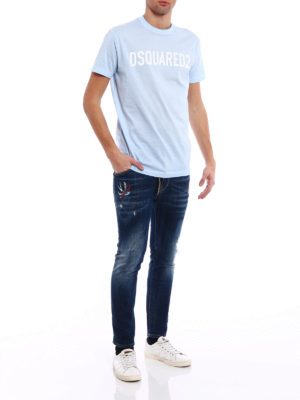 Dsquared2: skinny jeans online - Skater embroidered bird patch jeans
