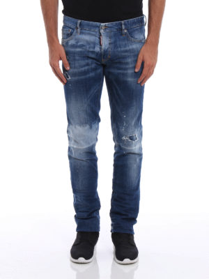 Dsquared2: skinny jeans online - Slim Jean worn out denim jeans