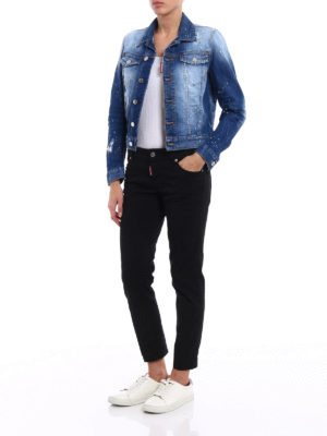 Dsquared2: skinny jeans online - Twiggy black denim cropped jeans