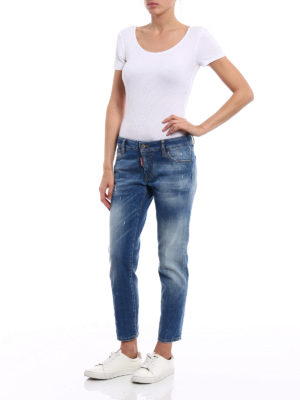 Dsquared2: skinny jeans online - Twiggy faded denim cropped jeans