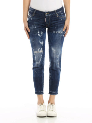 Dsquared2: skinny jeans online - Worn out denim cropped jeans