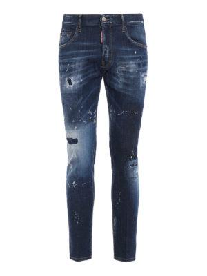 DSQUARED2: jeans skinny - Jeans Skater in denim scolorito e rovinato