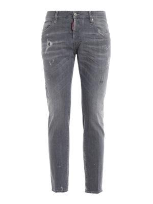 DSQUARED2: jeans skinny - Jeans skinny destroyed grigi Skater