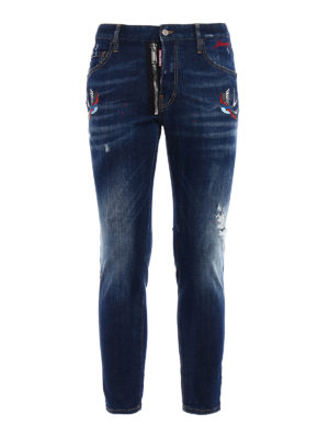 Dsquared2: skinny jeans - Skater embroidered bird patch jeans