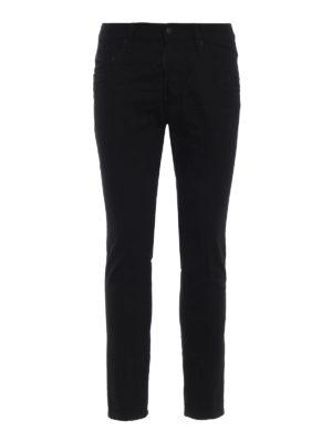 DSQUARED2: jeans skinny - Jeans neri Skater a vita bassa