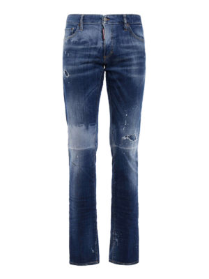 Dsquared2: skinny jeans - Slim Jean worn out denim jeans