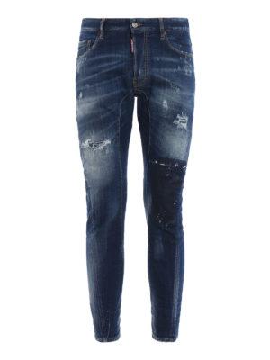 DSQUARED2: jeans skinny - Jeans Tidy Biker a vita alta e fondo stretto