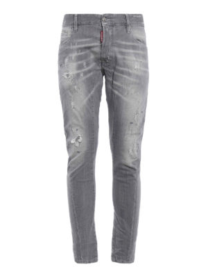 Dsquared2: skinny jeans - Tidy Biker used effect jeans