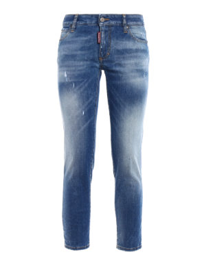 Dsquared2: skinny jeans - Twiggy faded denim cropped jeans