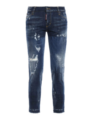 Dsquared2: skinny jeans - Worn out denim cropped jeans