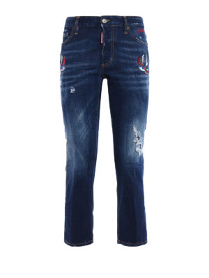 Dsquared2: straight leg jeans - Boyfriend bird patches jeans
