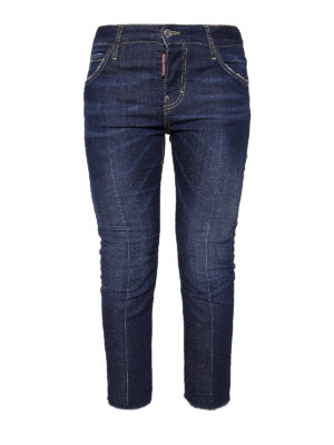 Dsquared2: straight leg jeans - Central crease crop denim jeans