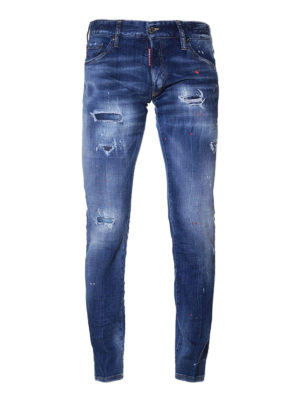 Dsquared2: straight leg jeans - Clement red spotted jeans
