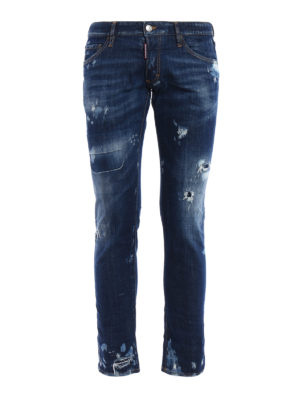 Dsquared2: straight leg jeans - Clement used effect jeans