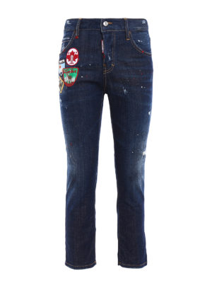 Dsquared2: straight leg jeans - Cool Girl crop jeans with patches