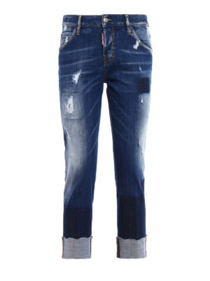 Dsquared2: straight leg jeans - Cool Girl dark wash cropped jeans