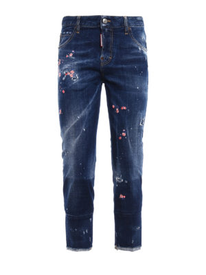 Dsquared2: straight leg jeans - Cool Girl floral embroidered jeans