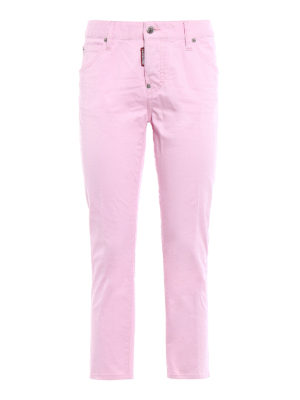 Dsquared2: straight leg jeans - Cool Girl pink cropped jeans