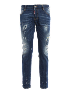Dsquared2: straight leg jeans - Cool Girl scraped faded denim jeans