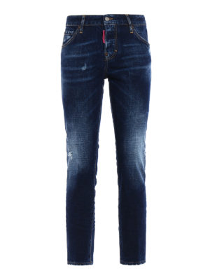 Dsquared2: straight leg jeans - Cool Girl washed denim jeans