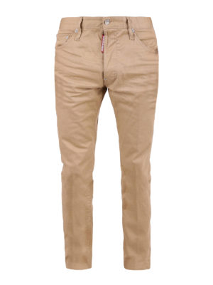Dsquared2: straight leg jeans - Cool Guy beige stretch cotton jeans