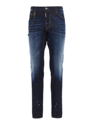 Dsquared2: straight leg jeans - Cool Guy chain detail stained jeans