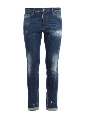 Dsquared2: straight leg jeans - Cool Guy faded denim jeans