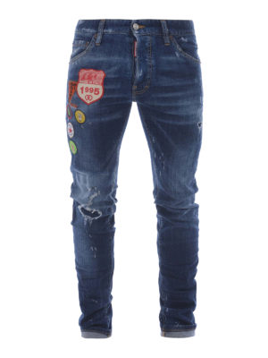 Dsquared2: straight leg jeans - Cool Guy jeans with patches