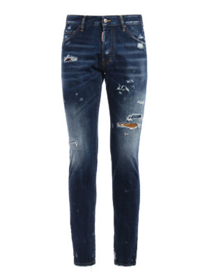 Dsquared2: straight leg jeans - Cool Guy patched rips jeans