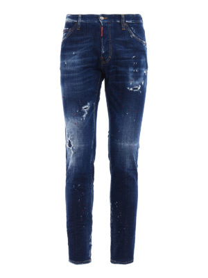 Dsquared2: straight leg jeans - Cool Guy red paint spotted jeans