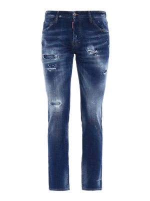 Dsquared2: straight leg jeans - Cool Guy red spotted jeans