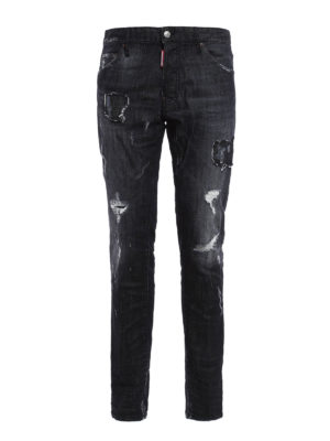 Dsquared2: straight leg jeans - Cool Guy ripped jeans with patches