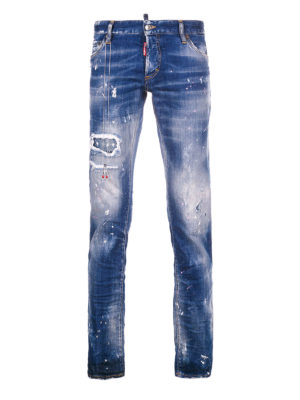 Dsquared2: straight leg jeans - Cool Guy spotted faded denim jeans