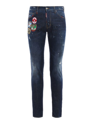 Dsquared2: straight leg jeans - Cool Guy spotted jeans with patches