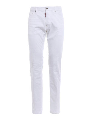 Dsquared2: straight leg jeans - Cool Guy white stretch cotton jeans