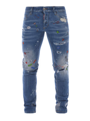 Dsquared2: straight leg jeans - Cotton patterned jeans